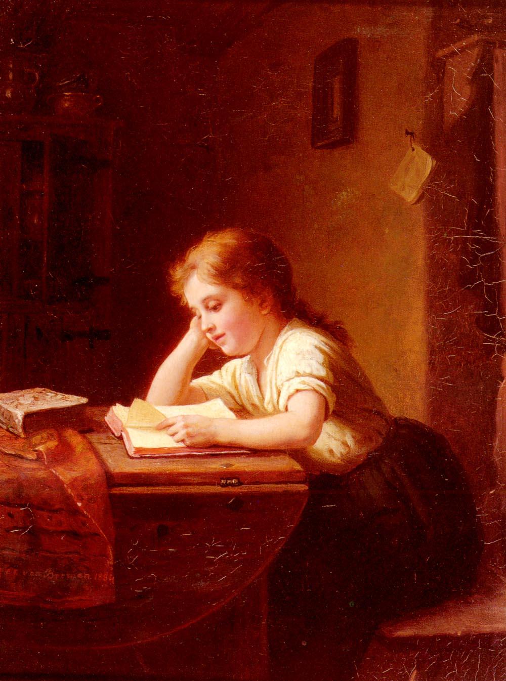 Das Lesende Madchen | Johann Georg Meyer Von Bremen | Oil Painting