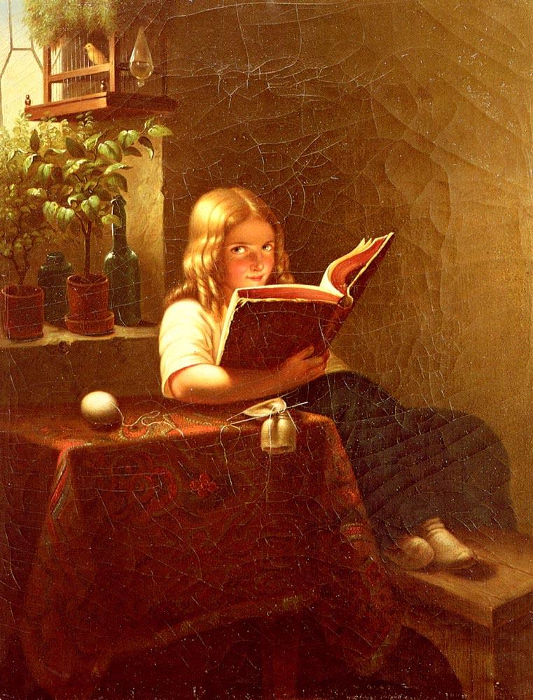 Das Lesende madchen2 | Johann Georg Meyer Von Bremen | Oil Painting