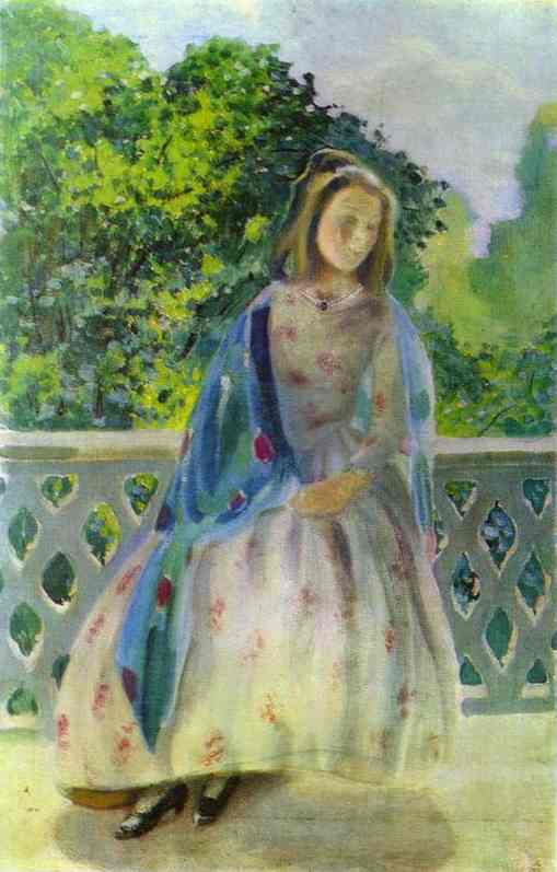 Young Girl On The Balcony  1900 | Musatov Victor Borisov | Oil Painting