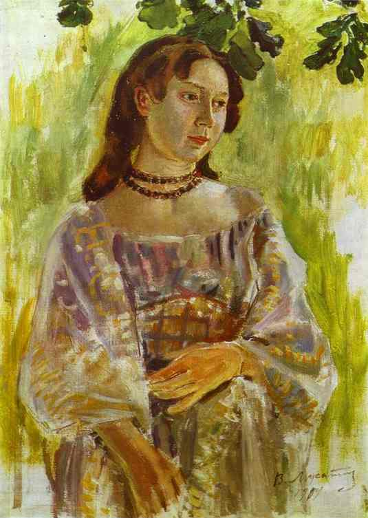 Young Girl With A Necklace 1904 | Musatov Victor Borisov | Oil Painting