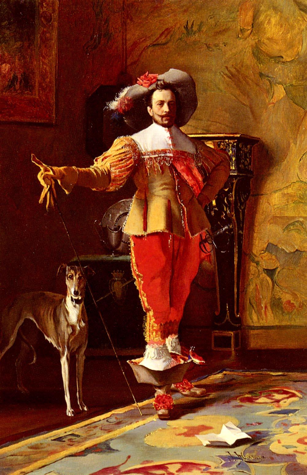 A Cavalier And His Hound | Johann Hamza | Oil Painting