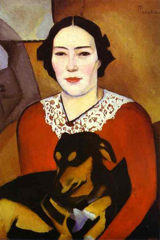 Lady With A Dog Portrait Of Esther Schwartzmann 1911 | Nathan Altman | Oil Painting