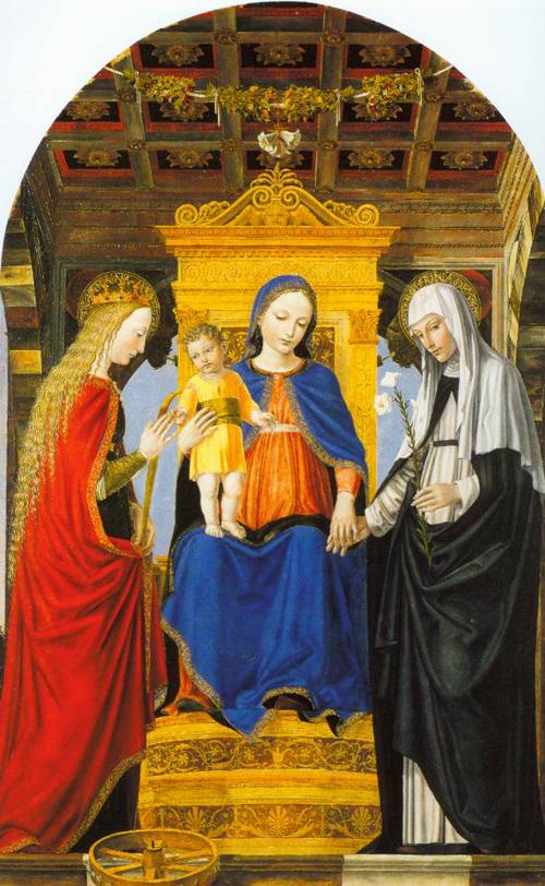 The Virgin And Child Enthroned With Saint Catherine Of Alexandria And Saint Catherine Of Siena 1490 | Ambrogio Bergognone | Oil Painting
