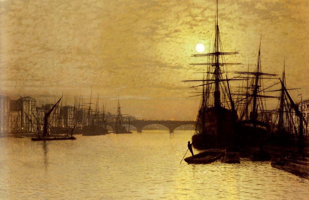 The Thames Below London Bridge   John Atkinson Grimshaw   Oil Painting