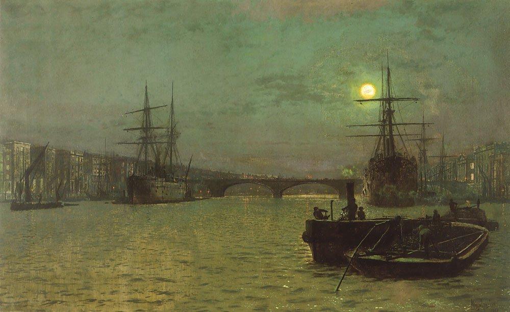 London Bridge-Half Tide | John Atkinson Grimshaw | Oil Painting