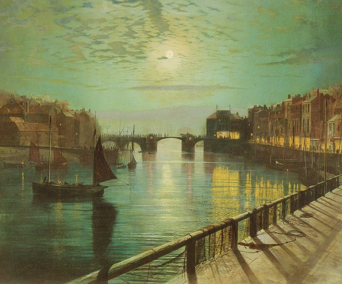 Whitby Harbour By Moonlight 1867 | John Atkinson Grimshaw | Oil Painting