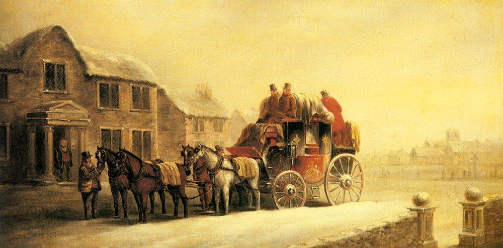 A Coach Outside An Inn In Winter   John Charles Maggs   Oil Painting