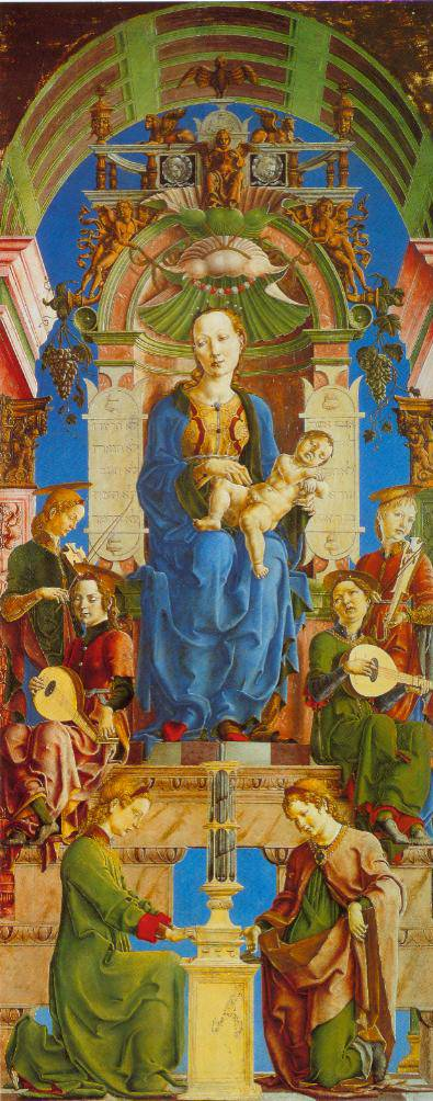 The Virgin And Child Enthroned With Angels Making Music 1474-75 | Cosimo Tura | Oil Painting