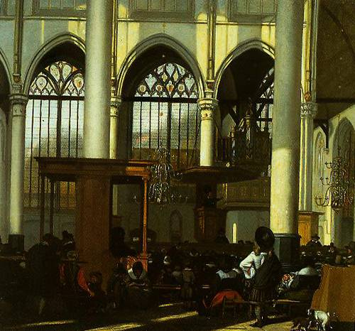 The Interior Of The Oude Kerk Amsterdam During A Sermon 1660 | Emanuel De Witte | Oil Painting