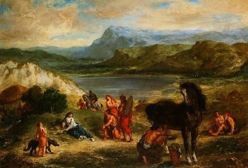 Xovid Among The Scythians 1859 | Ferdinand-Victor-Eugene Delacroi | Oil Painting