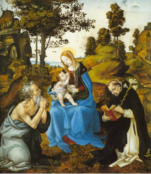The Virgin And Child With Saints Jerome And Dominic 1485 | Filippino Lippi | Oil Painting