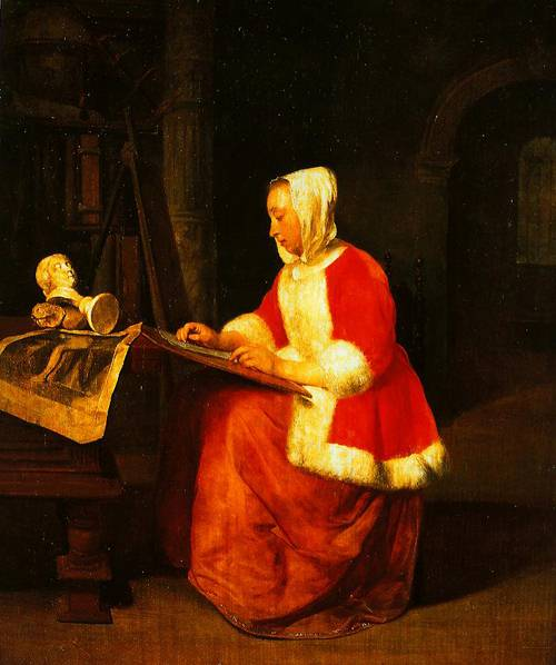 A Young Woman Seated Drawing 1655-1660   Gabrriel Metsu   Oil Painting