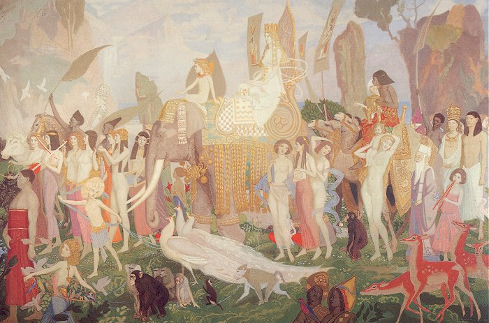 Ivory Apes And Peacocks 1923 | John Duncan | Oil Painting