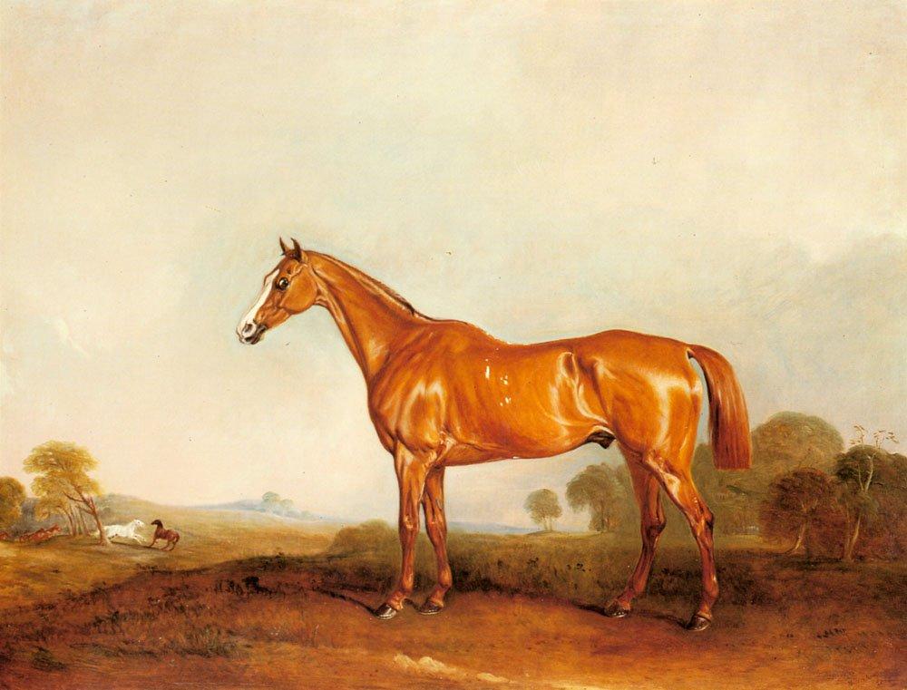A Golden Chestnut Hunter In A Landscape | John Ferneley | Oil Painting