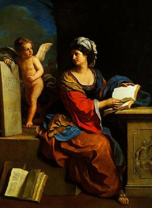 The Cumaean Sibyl With A Putto 1651 | Guercino(Giovanni Francesco Barbieri) | Oil Painting