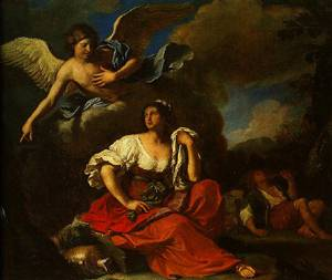 The Angel Appearing To Hagar And Ishmael 1652-1653 | Guercino(Giovanni Francesco Barbieri) | Oil Painting