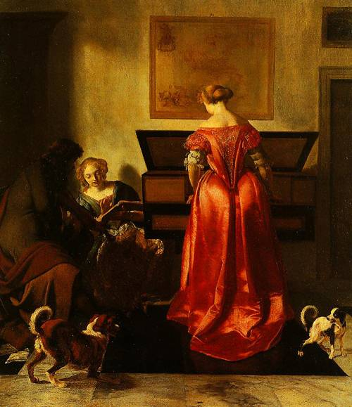 A Woman Playing A Virginal Another Singing And A Man Playing A Violin 1675-1680 | Jacob Ochtervelt | Oil Painting