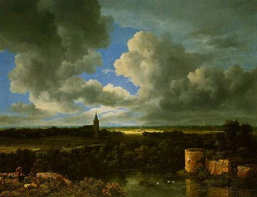 A Landscape With A Ruined Castle And A Church 1665-1670 | Jacob Van Ruisdeal | Oil Painting