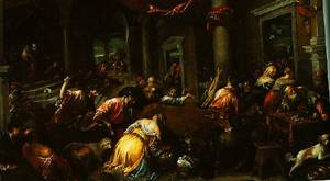 Christ Driving The Traders From The Temple 1585 | Jacopo Bassano | Oil Painting