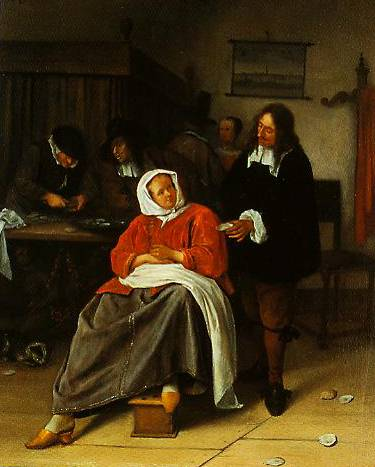 An Interior With A Man Offering An Oyster To A Woman 1660-1665 | Jan Steen | Oil Painting
