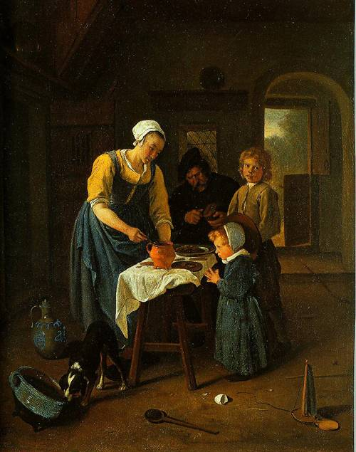 A Peasant Family At Meal-Time (Grace Before Meal) 1665 | Jan Steen | Oil Painting