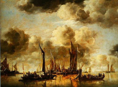 A Dutch Yacht Firing A Salute As A Barge Pulls Away And Many Small Vessels At Anchor 1650 | Jan Van De Capplelle | Oil Painting