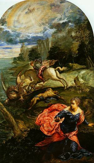 Saint George The Princess And The Dragon 1555   Jocopo Tintoretto   Oil Painting