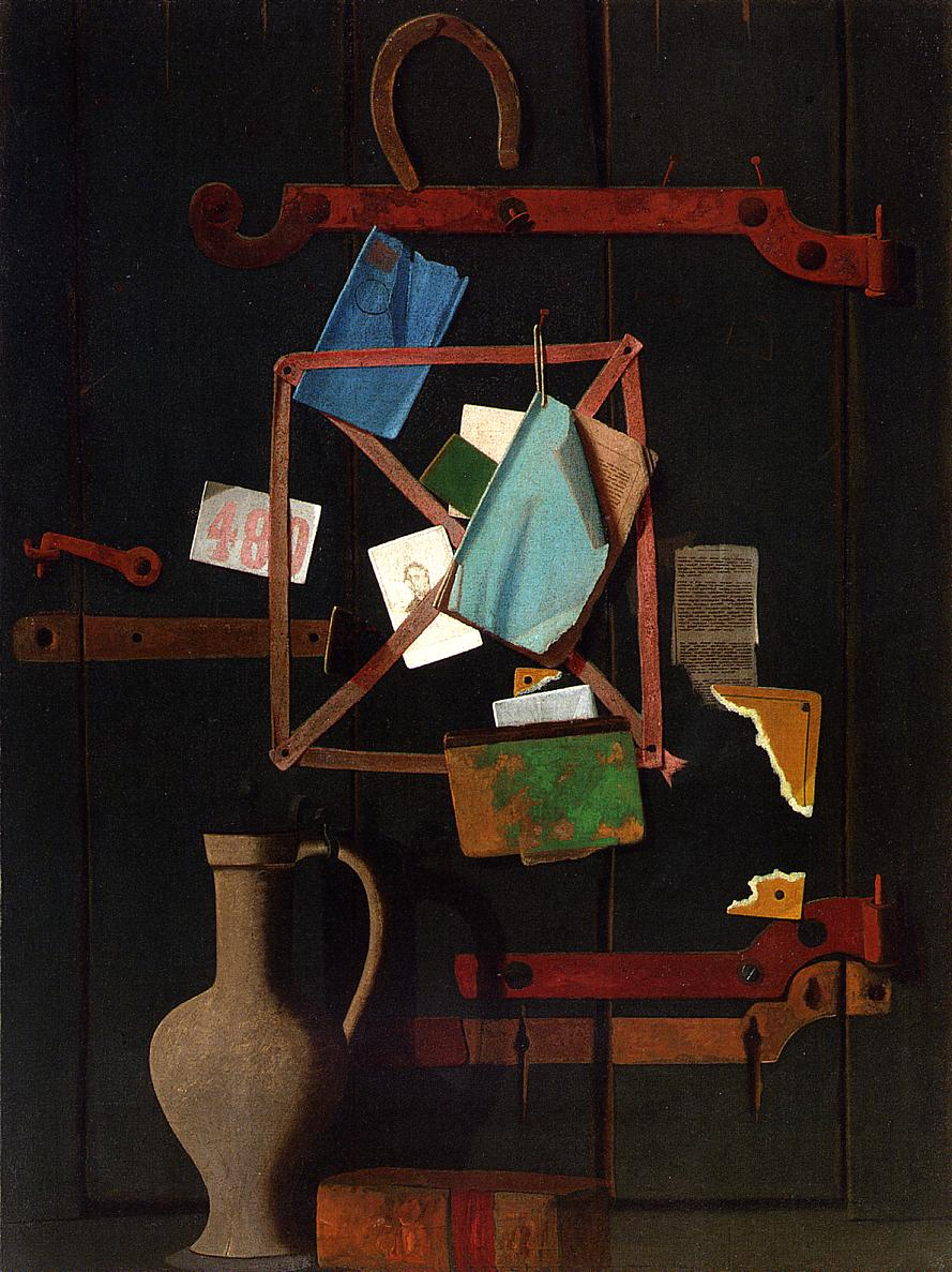 The Old Closet Door Rack and Horseshoe with Dutch Jat 1900 | John Frederick Peto | Oil Painting