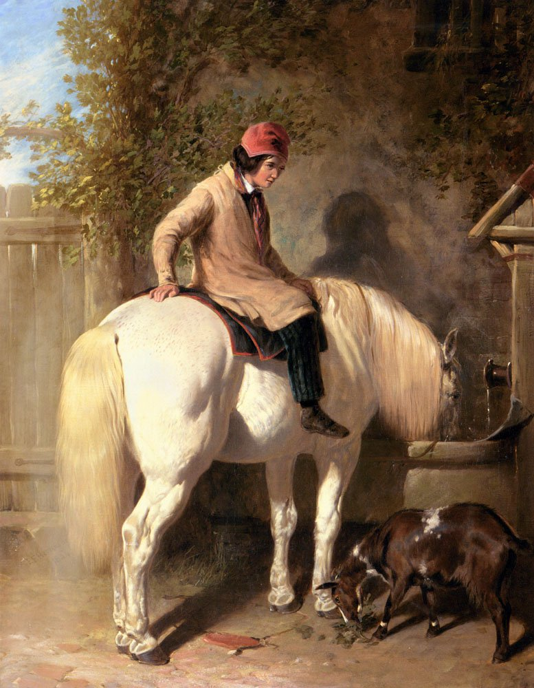 Refreshment A Boy Watering His Grey Pony | John Frederick Snr Herring | Oil Painting
