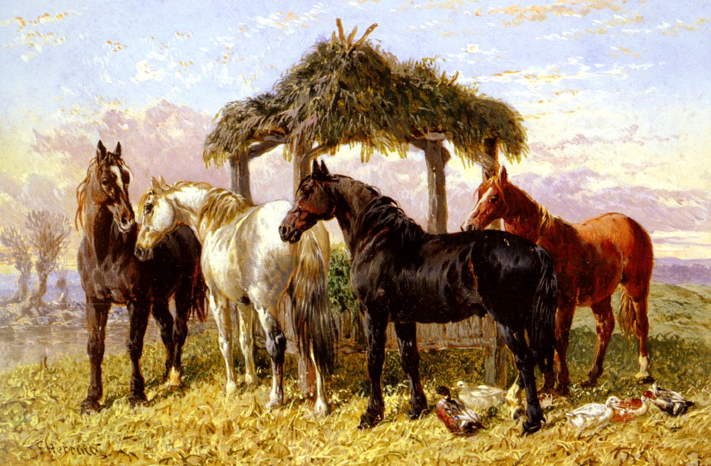 Horses And Ducks By A River   John Frederick Snr Herring   Oil Painting