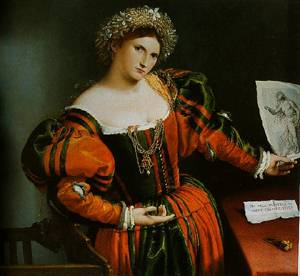 Portrait Of A Lady With A Picture Of The Suicide Of Luceretia 1530 | Lorenzo Lotto | Oil Painting