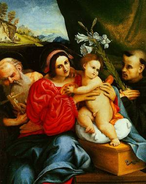 The Virgin And Child With Jerome And Saint Nicholas Of Tolentino 1522 | Lorenzo Lotto | Oil Painting