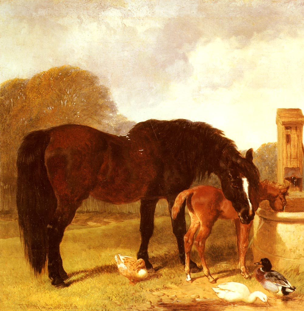 Horse And Foal Watering At A Trough | John Frederick Snr Herring | Oil Painting