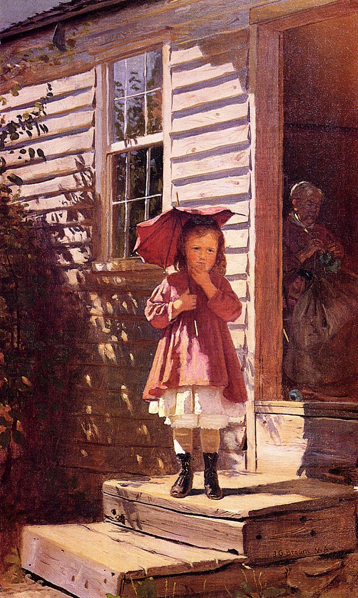 Broken Parasol 1865 | John George Brown | Oil Painting