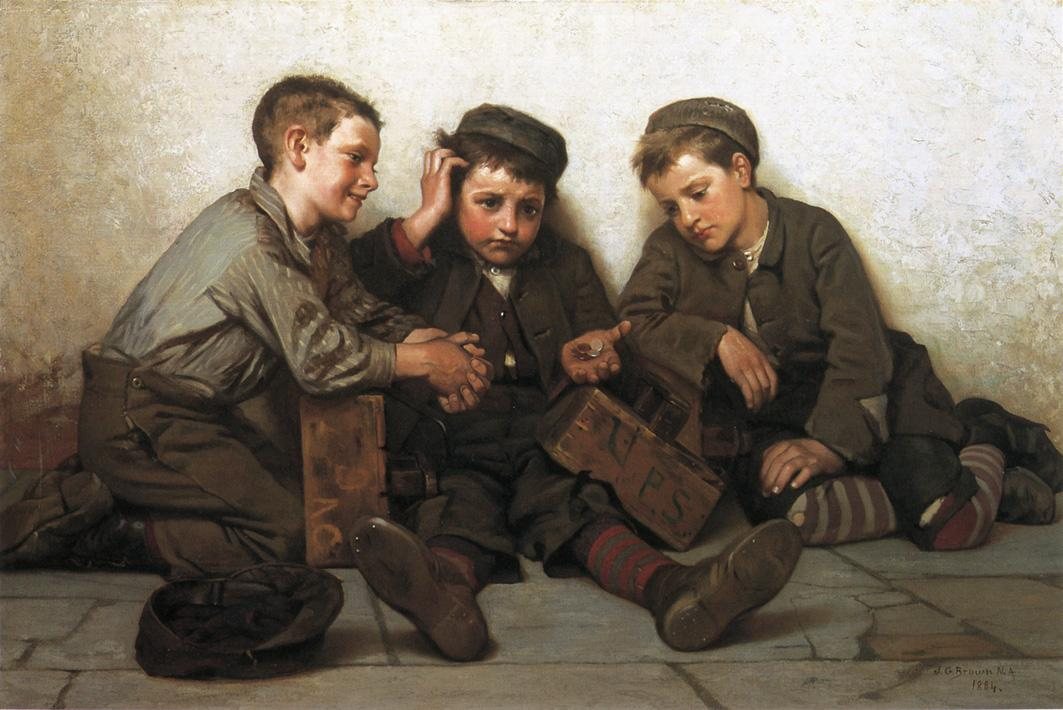 Coming up Short 1884 | John George Brown | Oil Painting