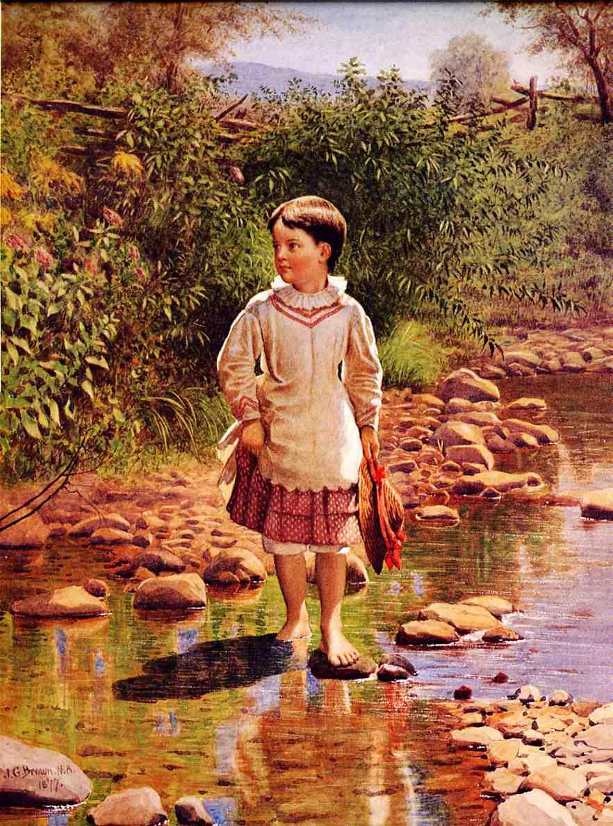 Crossing the Brook 1877 | John George Brown | Oil Painting