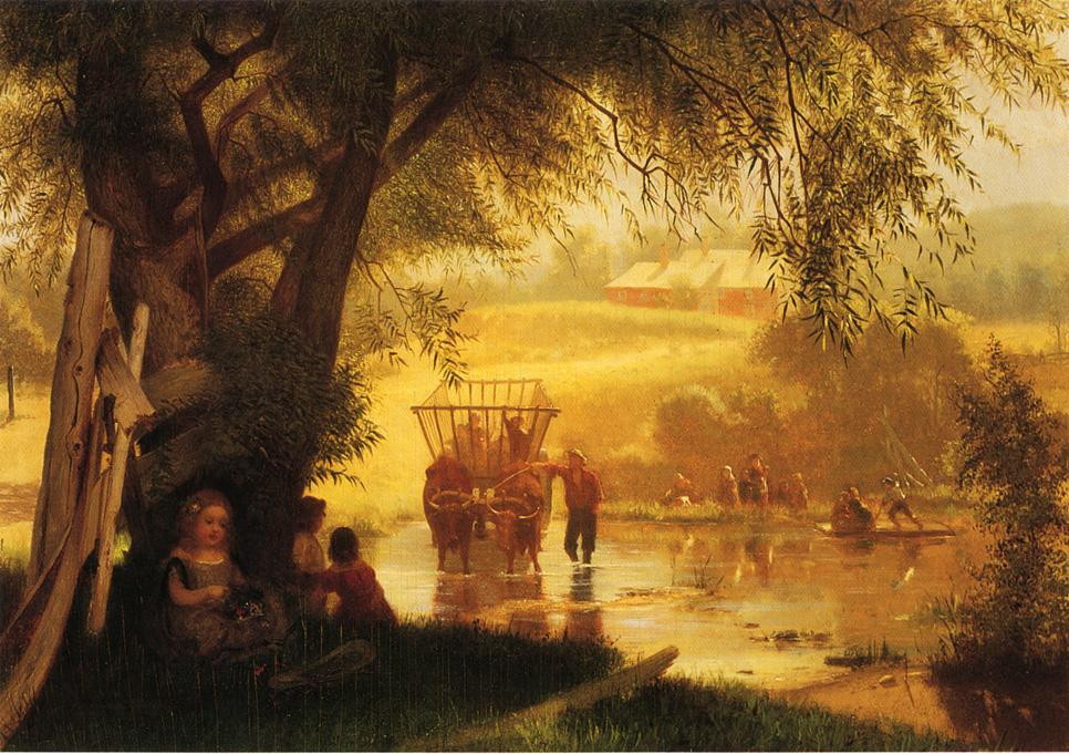 Crossing the Stream 1864 | John George Brown | Oil Painting