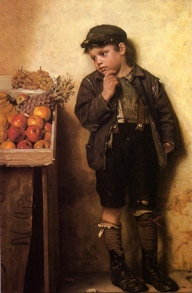 Eying the Fruit Stand 1884 | John George Brown | Oil Painting