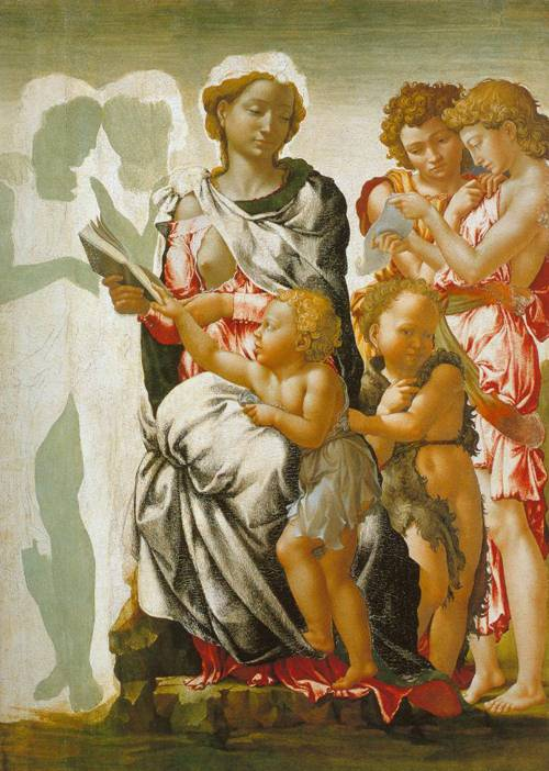 The Madonna And Child With Saint John And Angels 1500 | Michelangelo | Oil Painting