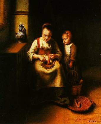 A Woman Scraping Parsnips With A Child Standing By Her 1655 | Nicolaes Maes | Oil Painting