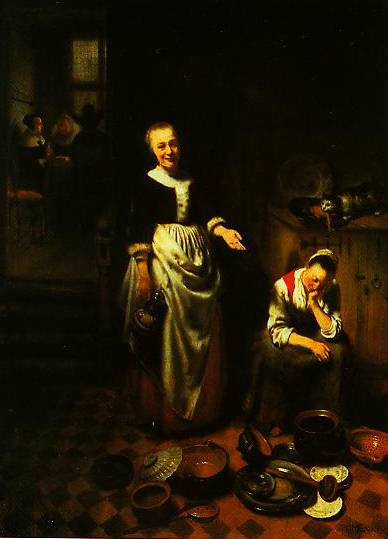 Interior With A Sleeping Maid And Her Mistress (The Idle Servant) 1655 | Nicolaes Maes | Oil Painting