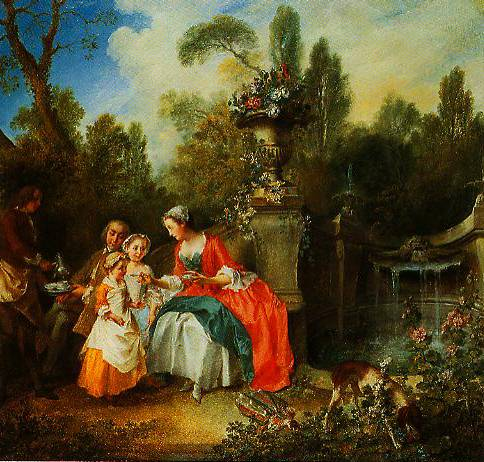 A Ladies In A Garden Taking Coffee With Some Children  1742 | Nicolas Lancret | Oil Painting