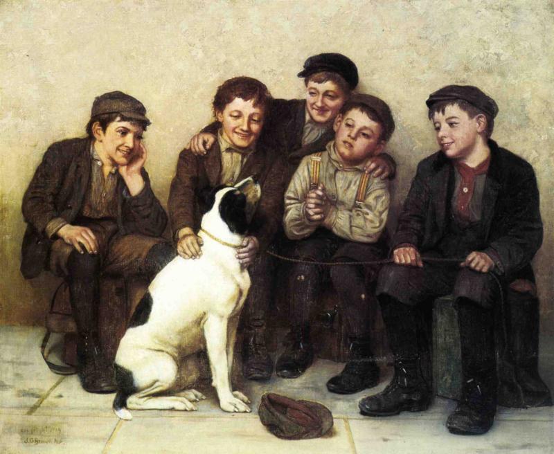 In Good Hands 1909 | John George Brown | Oil Painting