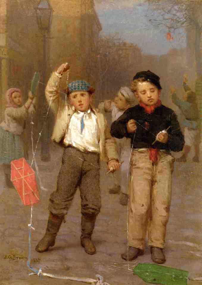 Kite Flyers 1867 | John George Brown | Oil Painting