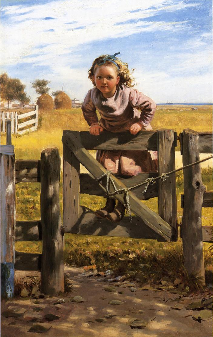 Swinging on a Gate Southampson New York 1878 1880 | John George Brown | Oil Painting