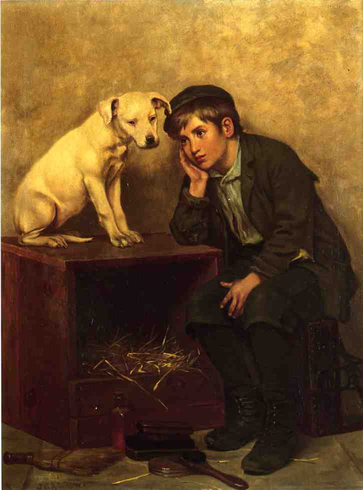 Shoeshine Boy with His Dog | John George Brown | Oil Painting