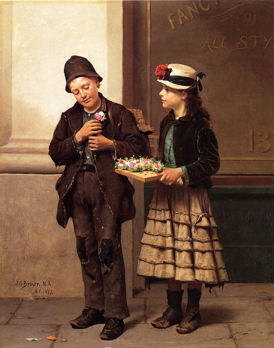 The Flower Girl 1877 | John George Brown | Oil Painting