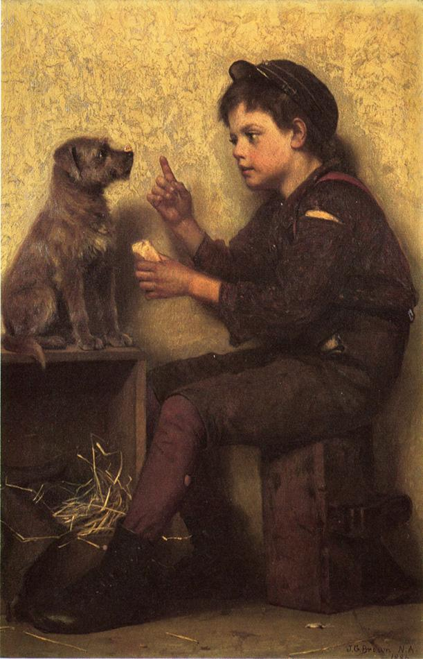 The Lesson 1886 | John George Brown | Oil Painting