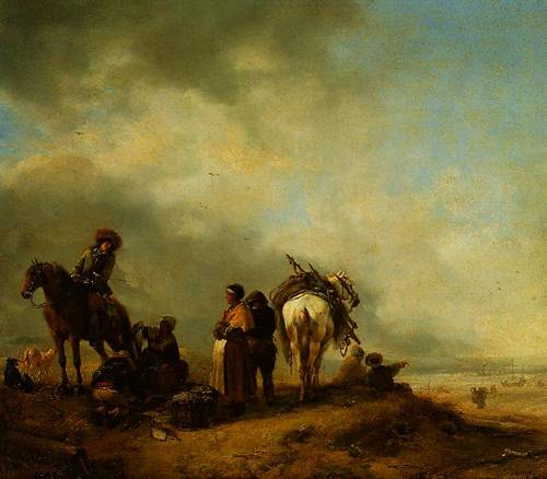 A View On A Seashore With Fishwives Offering Fish To A Horseman 1650-1668 | Philips Wouwermans | Oil Painting
