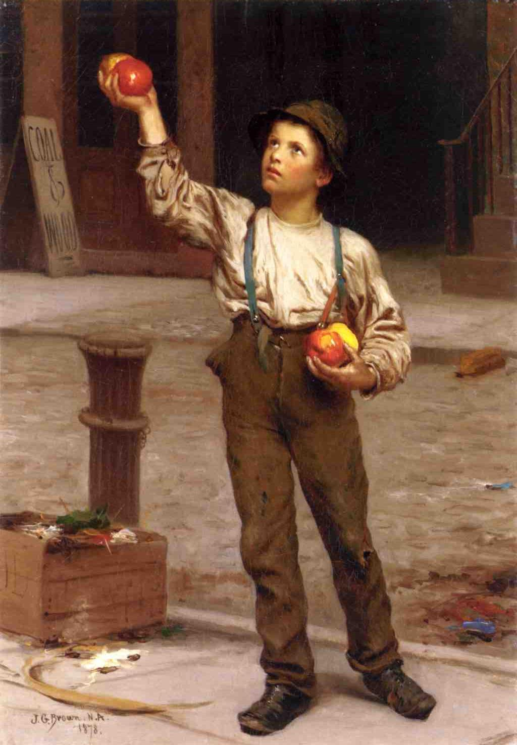 The Young Apple Salesman 1878 | John George Brown | Oil Painting